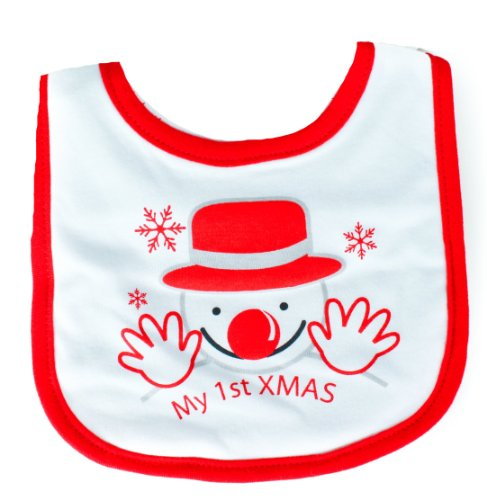Super Soft Baby Girls Boys Christmas S Velcro Close Fastening Bib My First Christmas Snowman White