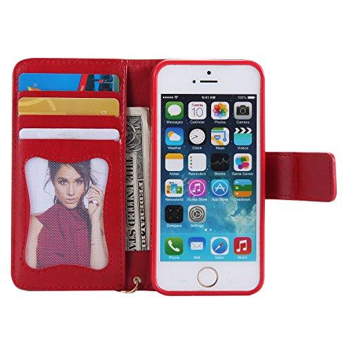 Qiaogle Telefon Case - PU Leder Wallet Schutzhülle Case für Apple iPhone 6 / iPhone 6S (4.7 Zoll) - KT30 Grün / Mädchen + Vogel + Katze KT27 Rote / Mädchen + Vogel + Katze