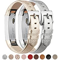 Tobfit Fitbit Alta Armband Fitbit Alta HR Armband (2 Pack) Lederarmband Edelstahl Schnalle Ersatzarmbänder für Fitbit Alta und Fitbit Alta HR (Kein Tracker)