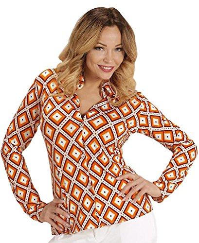 Karneval Klamotten 70er Jahre Kostüm Bluse Retro Bluse Hippie Hemd Damen orange kariert Karneval Damen-Kostüm Größe - 70er Für Kinder Kostüme Jahre