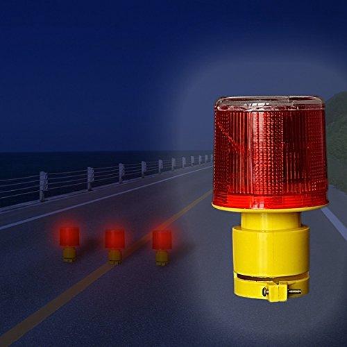 ZHENWOFC Solarbetriebene Verkehrswarnlicht LED Sicherheits Signal Beacon Emergency Alarm Lamp Außenbeleuchtung (Color : Red) Emergency Beacon