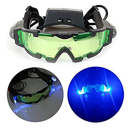 SHKY Nachtsichtbrille mit Flip-Out-LED-Leuchten - verstellbares Gummiband Nachtsichtbrille, Anti-Fog-Schwarz Camping/Wandern Männer Frauen Kinder