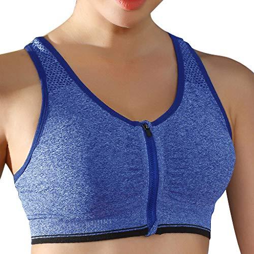 Linkay T Shirt Damen Kurz Stoßfest Reißverschluss-Sportweste Bluse Tops Yoga Unterwäsche Oberteile Mode 2019 (Blau, Medium) - Volcom-lange Unterwäsche