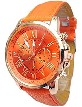 FEITONG Damenuhr Stilvolle Ziffern Kunstleder Analoge Quarz Armbanduhr Orange