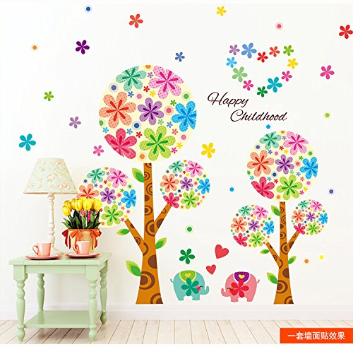 colorful-cute-elephant-flower-tree-wall-mural-art-sticker-for-children-room-nursery-room-decor