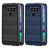 VGUARD [2 Stücke] Hülle für LG Q60 / LG K50, Carbon Faser Case Tasche Schutzhülle mit Stoßdämpfung Soft Flex TPU Silikon Handyhülle für LG Q60 / LG K50 - (Schwarz+Blau)