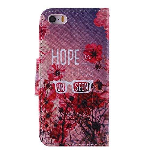 CaseHome iPhone SE/5S/5 Mode Elegant PU-Leder Etui (Mit freiem HD Schirm-Schutz) Bunt Stilvoll Stand-Funktion Geprägtes Muster Gedruckt Entwurf Stoßfest Anti-Rutsch PU-Leder Fall Abdeckung Schale Haut Rot Pfirsichblüte