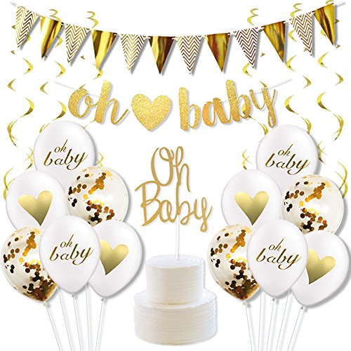 LUCK COLLECTION Baby-Dusche Dekorationen Geschlecht Neutral Boy oder Girl Geschlecht offenbaren Party Supplies mit Oh Baby Banner Cake Toppers Konfetti Ballons und Gold Swirl Pack