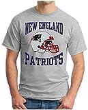 OM3® - New England Patriots - T-Shirt | Herren | American Football Shirt | Super Bowl 53 LIII | NFL | 3XL, Grau Meliert
