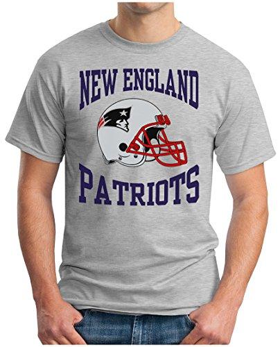 OM3® - New England Football - T-Shirt | Herren | American Football Shirt | M, Grau Meliert