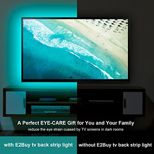 E2BUY® 2 Meter 60 LEDs Retroiluminación De TV 5050 RGB Bias Lluminación Para HDTV De 40 60 Pulgadas  USB LED Rayas Multi Color LED Neon Accent Lighting Kit  Reduce La Fatiga Ocular Y Aumenta La Claridad De Imagen