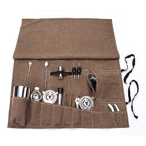 Barkeder-Werkzeugtasche, tragbare Tasche für Zuhause, Bar-Rolltasche, Cocktail-Set, Aufbewahrungstasche für Reisen oder Arbeitsplatz GJB135 -