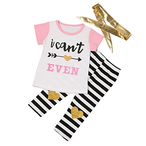 Janly Kind Kinder Baby Girl Boy Pfeil Brief Shirt + Streifen Hose Outfit Kleiderset (Grüner Outfit Pfeil)