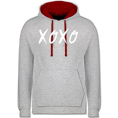 Statement Shirts - XOXO - Hugs and Kisses - Kontrast Hoodie Grau Meliert/Rot