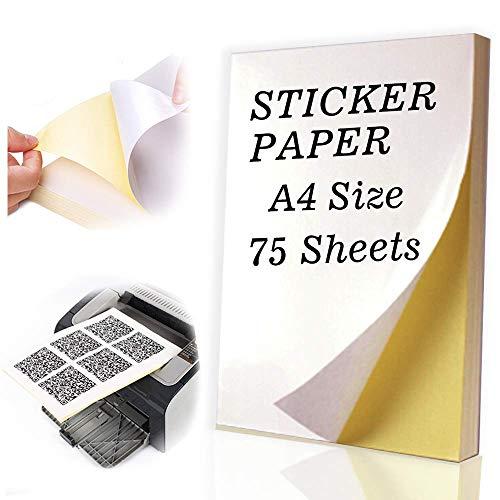 Universal Etiketten Selbstklebend 75 Blatt 210 x 297 mm, Druckerpapier A4 Aufkleber Papier Etikettendrucker Bedruckbar für Laser und Tintenstrahldrucker Drucker DIN A4 Etiketten Selbstklebend (Adress-aufkleber Zurück)