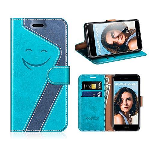 MOBESV Smiley Huawei Nova 2 Hülle Leder, Huawei Nova 2 Tasche Lederhülle/Wallet Case/Ledertasche Handyhülle/Schutzhülle für Huawei Nova 2, Aqua/Dunkel Blau
