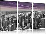 Skyline New York unter Gewitterhimmel schwarz/weiß 3-Teiler Leinwandbild 120x80 Bild auf Leinwand, XXL riesige Bilder fertig gerahmt mit Keilrahmen, Kunstdruck auf Wandbild mit Rahmen, günstiger als Gemälde oder Ölbild, kein Poster oder Plakat