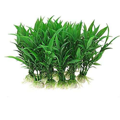 10 Stück Kunststoff grün Kunstrasen Unterwasser Simulation Kunststoff Aquarium Pflanze für Fish Tank Dekoration Ornament (Pflanzen Ornament Grünem Kunststoff)