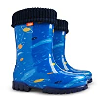 Kids Boys Girls Fleece-Lined Wellington Boots Wellies Blue Space New