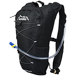 Andes 2 Litre Black Hydration Pack/Backpack Running/Cycling with Water Bladder/Pockets