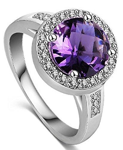 SaySure - Rings Hearts And Arrows Diamond Ring Real Platinum Plated (SIZE : 6) - Diamond Ring: Platinum Diamond Band