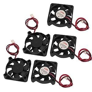 DealMux 5Pcs DC 12V Case 50 x 50 x 10mm 7 Vanes 2 fili che portano ventola di raffreddamento per PC Case