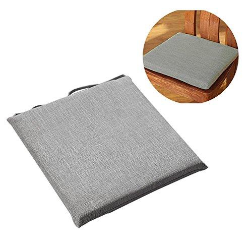 Sitzkissen SEAT PAD Stuhl Sitzkissen Kissen mit Trägern für Kaffee Esszimmer Garten Terrasse Küche, Rücken, Ischias und Steißbein Leid 45* 45cm, grau -