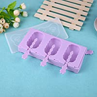 3 Holes Silicone Ice Cream Mold Wave Section Popsicle Molds Tools With Dust Cover Sticks Frozen Mold Kitchen Accessories for Kid