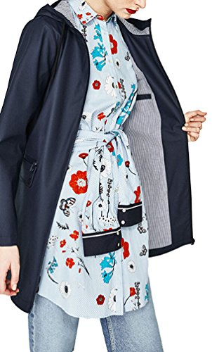 Brinny Damen Parka Regenjacke Regenmantel Regenparka Übergangsjacke Funktionsjacke Mit Kapuze Tasche Wasserdicht Atmungsaktiv wasserabweisende Blau