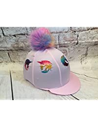 67f3e2dc9a4 SUPER X COUNTRY SXC Xmas Unicorn Horse Baby Pink Faux Fur Pompom Riding Hat  Silks Custom