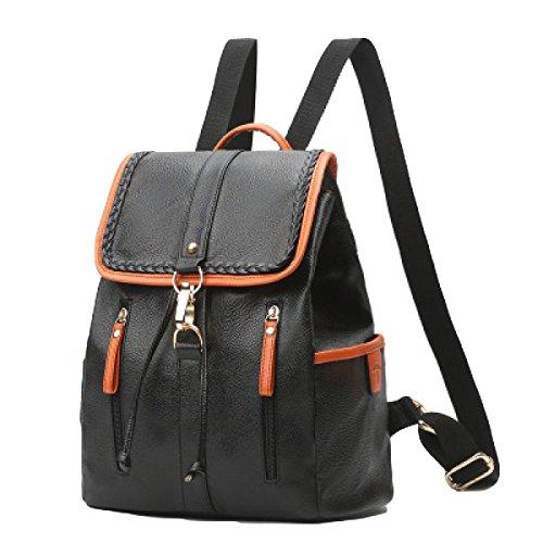 Damen PU Umhängetasche Personalisierte Tasche Rucksack Mode Einfach Black