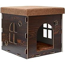 eyepower Caseta para Perro Gato 41x41x41cm talla mediana M cama caja cuadrada para mascota con tapa