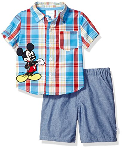 Plaid Woven Shorts (Disney Baby Boys' Mickey Mouse 2-Piece Plaid Woven and Short Set, Azure Blue, 3/6)