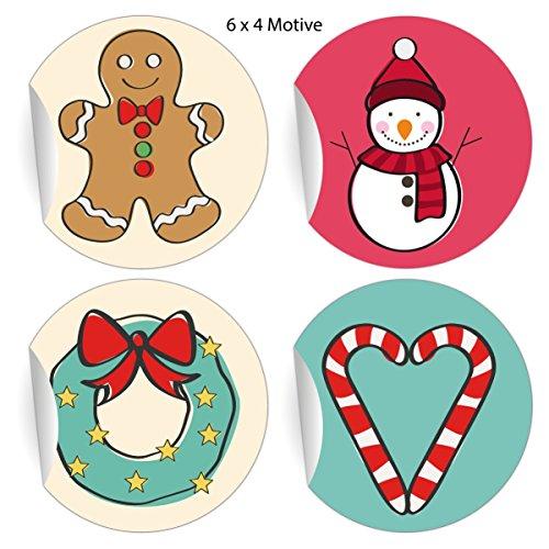 5 x 24 hübsche Weihnachts Aufkleber mit Weihnachts Ornamenten Lebkuchen, Schneemann, Herz und Kranz,bunt, MATTE Papieraufkleber für Geschenke, Etiketten für Deko, Pakete, Briefe (ø 45mm)