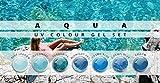 N&BF 7er Farbgel Set Aqua | 7x5 ml UV Color Gel Sparset | Colourgel in sieben verschiedenen Blau-Tönen | Made in EU | Sparpaket für Gelnägel & Nail Art Design | Profi Nagelgel bunt