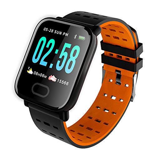 Oasics Fitness Armband, Smartwatch für Damen Herren, A6 Wasserdichte Smart Watch Pulsuhr Armband Armband für iOS Android (Orange)