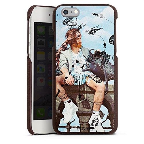 Apple iPhone 6 Lederhülle Leder Case Leder Handyhülle Mann Handtasche Hubschrauber (Aus Handtaschen Leder Kollektionen)
