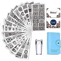 Biutee Nail Art Stamping 15pcs Plantilla de Uñas Estampación para Uña para Manicura +1pcs Sello de Silicona +2 pcs Rascador +1 pcs bolsa para Placa(Color al azar)