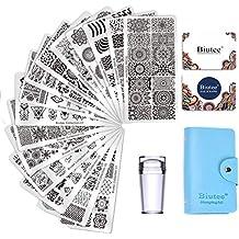 Biutee Nail Art Stamping 15pcs Placas Estampacion Uñas para Manicura +1pcs Sello de Silicona +