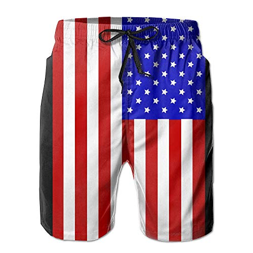 American Flag Fashion and Style Men's Workout&Swim Trunks Quick Dry Board Shorts with Pockets and Drawstring X-Large Front Jazz Pant