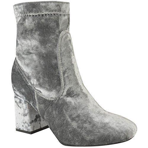 Femmes Épais Chelsea Bloque Bottine Talon Bas Velours Chaussures Décontractées Pointure Velours Gris
