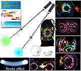 Pro Glow Poi - LED Poi Set + Kid Poi DVD + Stoff Reisetasche! Nachtleuchtender Poi inkl. Batterien. Langsam STROBE Leuchtpoi Luminous Pois Led.