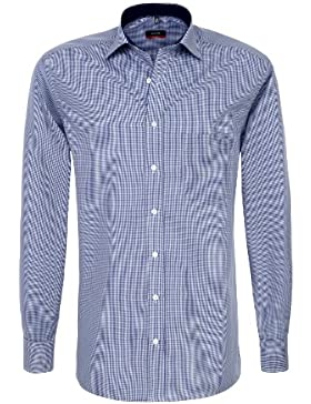 Eterna Herrenhemd Langarm Baumwoll Hemd Baumwollhemd Herren Business Hemden Modern Fit Marine Weiß Gr. M/40