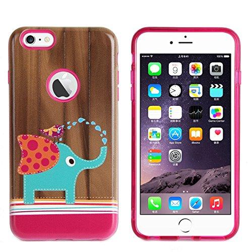 Coque iPhone 6 Plus,iPhone 6S Plus Housse en Silicone,Étui iPhone 6 Plus/6S Plus Case,ETSUE iPhone 6 Plus Coque en TPU Cover Housse de Téléphone,avec Créatif 2 in 1 Coque, Coloré 3D Case Noir Fond Jol éléphant