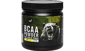 nu3 BCAA Pulver - essentielle Aminosäuren im 2:1:1 Verhältnis - 400g Lemon Powder - fruchtiger Zitronen Geschmack - 9,8g BCAAs pro Portion - max 5 kcal pro Drink - Vegan & Zuckerarm - gute Löslichkeit
