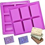 Stampi in silicone per sapone, 2Pcs 6 cavità, forma rettangolare, per torte, sapone, biscotti, cioccolato, muffa, Ice Cube