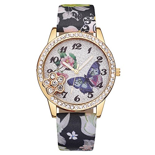 Watches for Prime Day Deals 2018!!Women's Wrist Watches Luxury Fashion Faux Leather Mens Blue Ray Glass Quartz Analog Watches ❦ Multifunction Sports Watch(Multicolor) (❤Black)