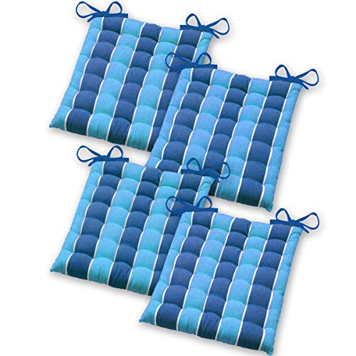 Gräfenstayn® Set de 4 Coussins d'Assise Coussins de Chaise 40x40x5cm pour intérieur et extérieur - 100% Coton - Différents Coloris – Rembourrage épais (Bleu/Bleu Clair)