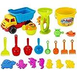 Seciie Sandspielzeug, 21er Set Kinder Sandkasten-Set mit Großem Strandwagen, Gießkanne und Diverse Förmchen für Mädchen und Jungen