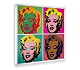 Giallo Bus - Cuadro - Impresion En Lienzo - Andy Warhol - Le 4 Marylin - Pop Art - 70 X 70 Cm